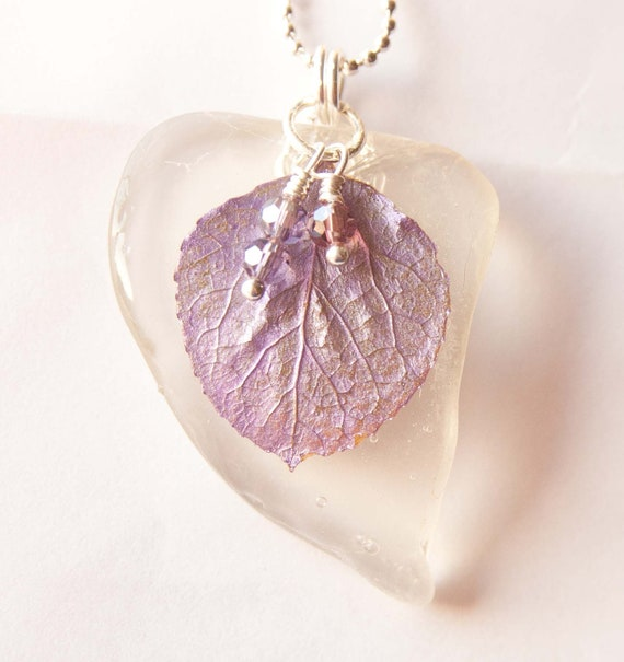 Purple Aspen Leaf Recycled Glass Pendant, Seaglass, Gifts under 30, Black Friday, Cyber Monday