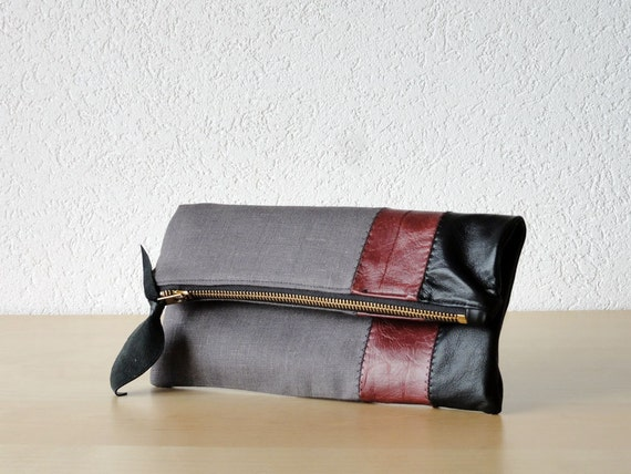Leather Clutch in Black and Burgundy  Italian Leather and Grey Linen - Indie Patchwork Series