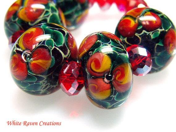 Jungle Blooms Glass Lampwork Beads