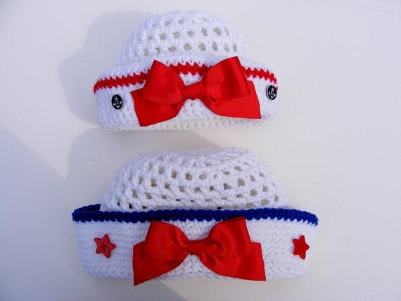 Little Sailor Crochet Hat Pattern - Easy 8 Size - Infant to 5t - Tute 4 Tie Bow - No.54