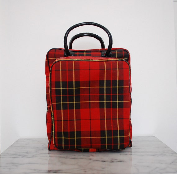 vintage Thermos red tartan plaid picnic bag with thermos accessories