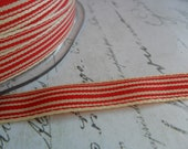 Red and Cream Striped Ribbon 3/8