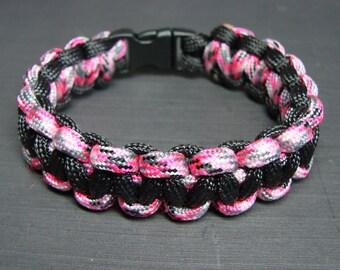 Pink Camo and Black paracord survival bracelet