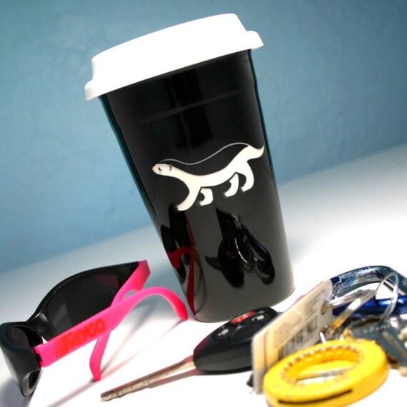 Honey Badger Ceramic Travel Mug - BLACK coffee cup