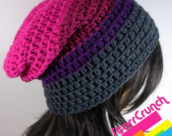 Slouchy Beanie Crochet Hat in Pink Magenta Purple and Charcoal