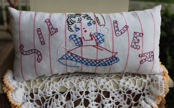 Vintage Linen Pillow - Cute Girl - Silver - Towel Pillow