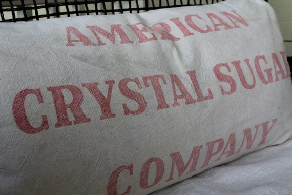 Vintage Grainsack Pillow Cover - American Crystal Sugar Sack - Heavy Grain Sack - Red on Cream - King Size Bolster