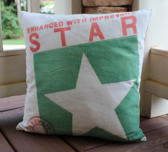 Vintage Flour Sack Pillow - Star Flour
