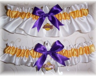 Los Angeles Lakers Wedding Garter Set with Charms  LA  Handmade  Keepsake and Toss   Satin W-GPW