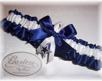 Dallas Cowboys Wedding Garter with charm Toss    Handmade  Toss   Satin NW