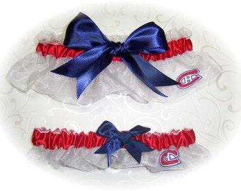 Montreal Canadiens Wedding Garter Set   Handmade  Keepsake and Toss   wrn