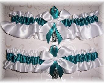 Seattle Mariners Wedding Garter Set with charms    Handmade  Keepsake and Toss   Satin w-twt