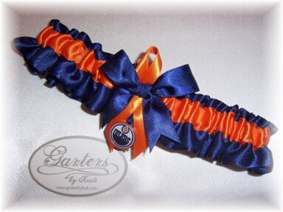 Edmonton Oilers Wedding Garter with Edmonton Oilers charm  Handmade  Toss   Satin NO