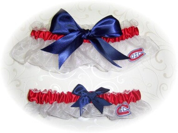 Handmade Wedding Garter Set with Montreal Canadiens fabric wrn