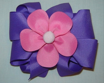 3 in One Hairbow in Purple and Hot Pink
