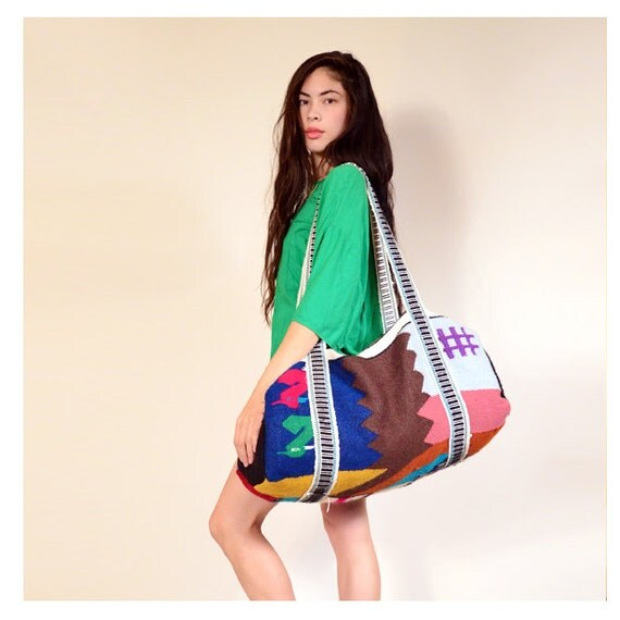 vintage colorful woven duffle bag