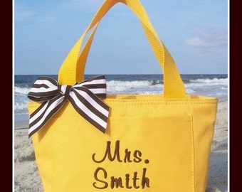 Mrs. or Miss and Name Teachers Monogrammed Lunchbox Personalized Black Grey Yellow Brown Hot Pink Navy Green Purple Red School Bag Insulated