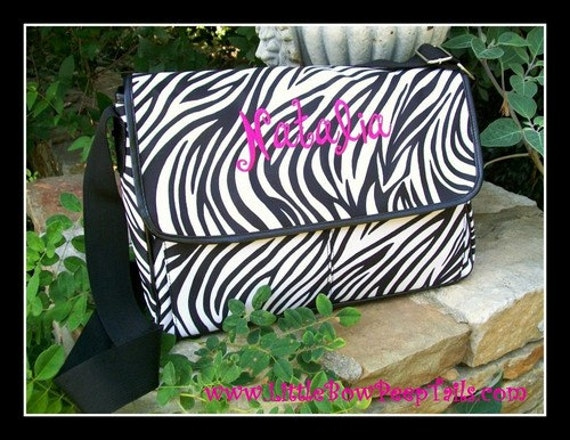 Zebra Monogrammed Messenger Bag bookbag personalized teenager tween ...