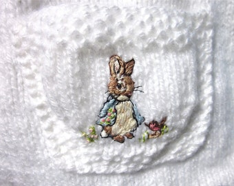 Baby Poncho & Pants, Size 18mos./ Hand Knit and Embroidered / If Peter Rabbit Had A Twin Sister