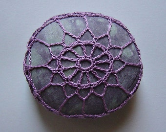 Purple, Crochet Lace Stone, Original, Handmade, Table Decorations, Art Object, Home Decor, Soft Purple Thread, Gray Spotted Stone