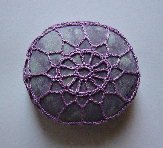 Purple, Crochet Lace Stone, Original, Handmade, Table Decorations, Art Object, Home Decor, Soft Purple Thread, Gray Spotted Stone