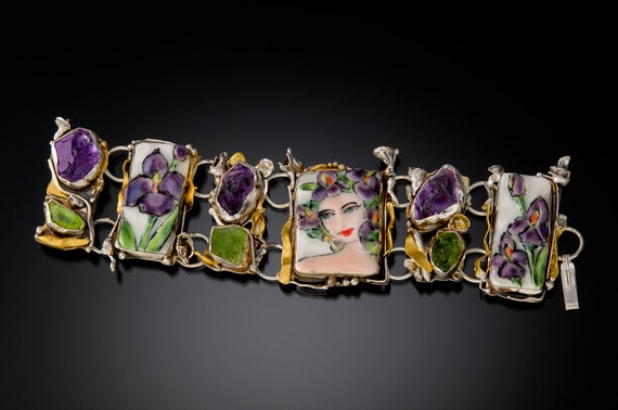 Iris Art Bracelet withRough Amethyst and Peridot in Silver and Gold