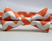 Boy's Bow Tie Orange and White Chevron Bowtie