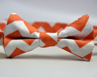 Boy's Bow Tie Orange and White Chevron Bowtie