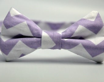 Boy's Bow Tie Lavender and White Chevron Bowtie
