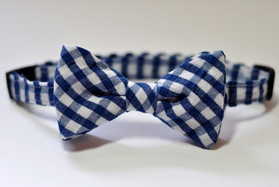 Navy Gingham Seersucker Boys Bowtie