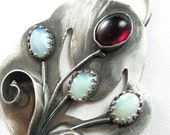 Grow With the Flow Necklace - Garnet, Opal and Sterling Silver