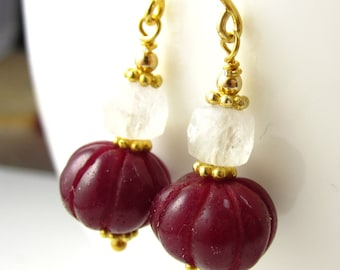 Carved Ruby and Moonstone Earrings