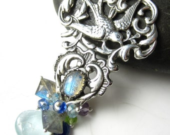 Swooping Down - Sterling, Labradorite and Moss Aquamarine Necklace