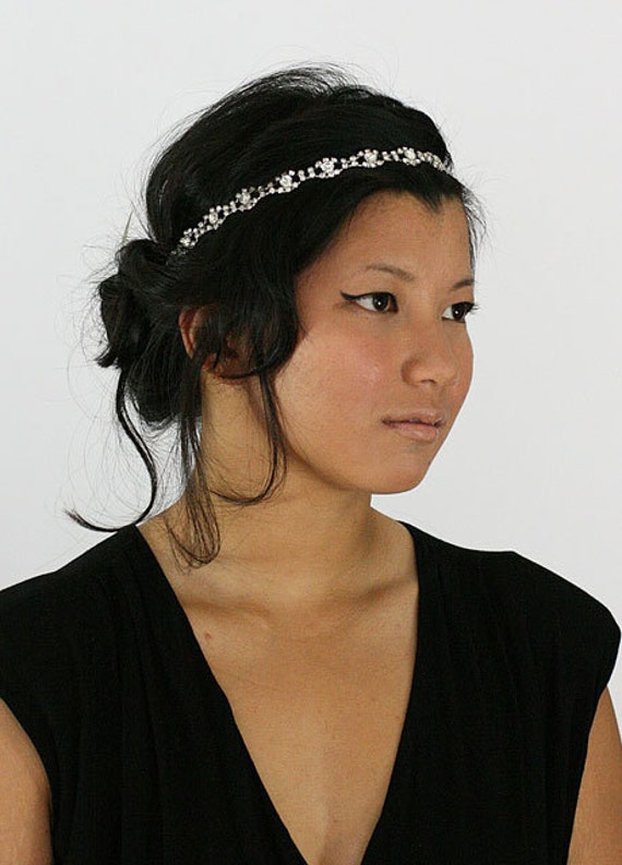 Rhinestone Headband, Grecian Headpiece, Wedding Hair Accessory, Crystal Headband, - EDNA