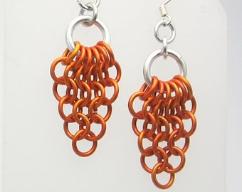 Orange Mesh Triangles Chainmaille Earrings Handmade