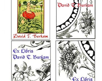 Set of 18 EX LIBRIS Personalized Bookplates (Choose from 20 Designs)