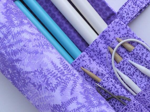 large knitting needle organizer - knitting needle case - pretty in purple - 36 pockets