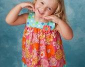 Jumper Dress and Top Pattern - Girls Square Neck Jumper or Sundress Pattern PDF