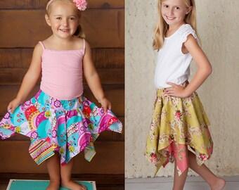 Pixie Skirt Pattern - Handkerchief Hem Layered Skirt Pattern - Skirt Sewing Pattern