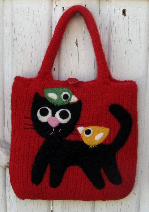 Pretty bright red felted bag handbag with a needle felted happy cat and two little birdies birds