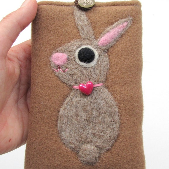 Phone cozy pouch brown little needle felted wool bunny rabbit RESERVED
