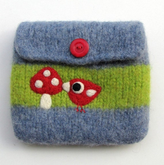 Felted bag pouch blue green wool purse bag hand knit needle felted birdie and toadstool