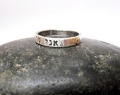 Hand stamped sterling silver jewelry skinny hebrew stacking ring