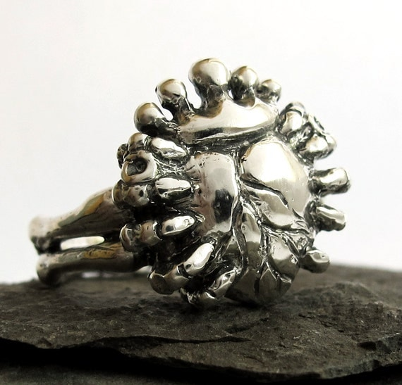 Love in Hand - Anatomical Heart Claddagh Ring, Skeleton Hands - Handmade, Sterling SIlver, Gift For Him, Gift For Son, Rickson Jewellery 103