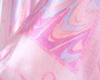 Cotton Candy - a vintage 1980's Vera Neumann hand-painted pure silk scarf - tout soie - 30 inches