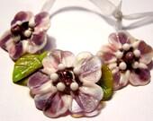 Handmade lampwork 3 pink lavender flowers with 4 leaves