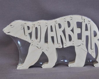 Polar Bear Animal Puzzle Wooden Toy Hand  Cut with Scroll Saw