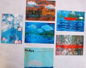 Set of Six glossy postcards of original paintings