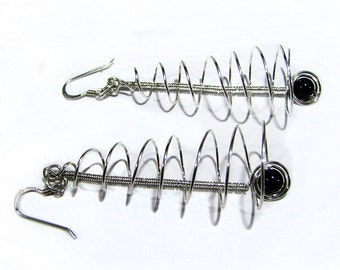 Sterling Silver Coiled Wire and Black Onyx Earrings