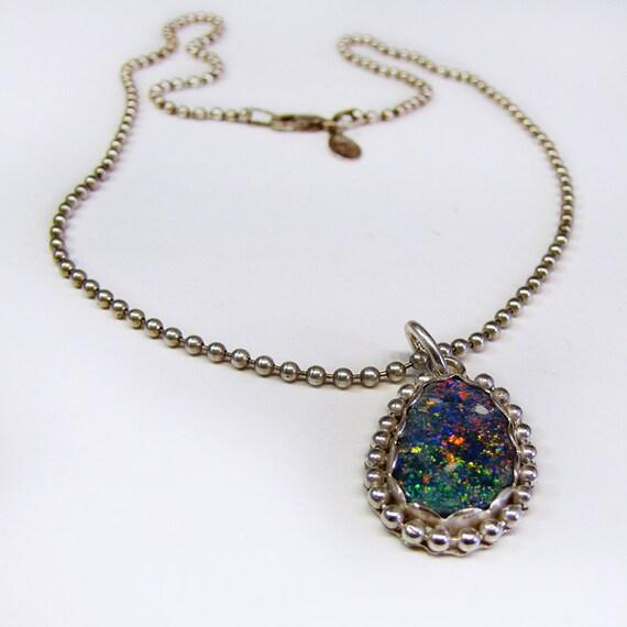 Australian Black Opal Gemstone Pendant Necklace In Silver